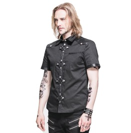 Men Gothic Shirt Steampunk Short Sleeve Slim Fit Shirt For Men