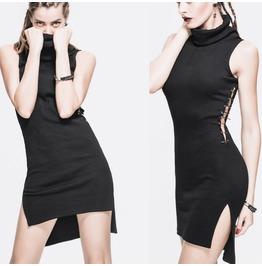 Women Gothic Fashion Dress Punk Black Asymmetric Cotton Long Short Tank Dre