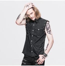 Men Gothic Shirt Hot Fashion Sleeveless Slim Fit Tassels Men Casual Shirt B