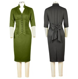 Black Or Green Retro Rockabilly Pin Up Pencil Wiggle Dress Reg& Plus Sizes