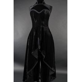 Black Velvet Victorian Gothic Corset Back Tapered Collar Dress $6 To Ship