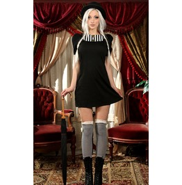 Steampunk Black And White Striped Bib Short Sleeved Mini Dress $6 To Ship