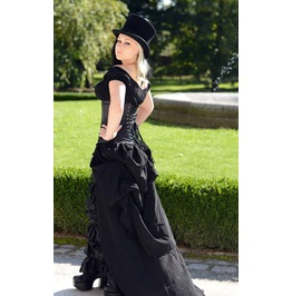 Black Satin Ruffle Floor Length Victorian Ball Gown Corset Dress $6 To Ship