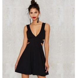 Sexy Black Back Hollow Women Dress T02
