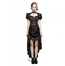 Black Brown Steampunk Dress Short Front Long Back Victorian Gown $6 To Ship