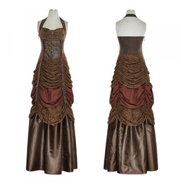 Brown Floor Length Buckled Steampunk Dress Long Victorian Gown Free To Ship