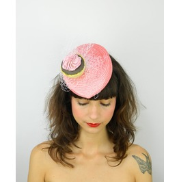 Pillbox Hat Fascinator Headpiece In Coral With Pink Cupcake And White Veil