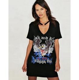 Hip Hop Wind Collar Eagle Black Loose Short Sleeve Dress T Shirt T03