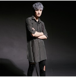 Street Fashion Hip Hop Men's Striped Casual Shirts