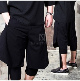 Black Linen Wing Cover Strap Crop Pants 139