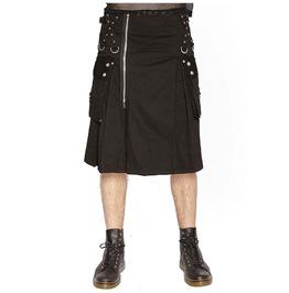 Handmade Cotton Goth Punk Emo Black Kilt Gothic Super Kilt