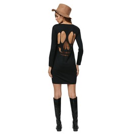 Skull Cut Out Long Sleeve Womens Dress Black Goth Punk