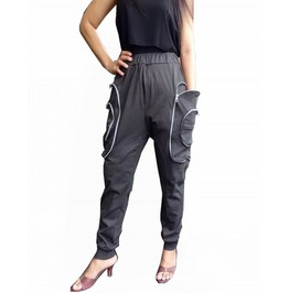 Charcoal Gray Apocalyptic Harem Trouser,Cargo Pocket Style Pants P038