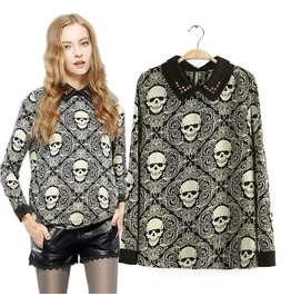 Stylish Skull Printed Blouse With Collar
