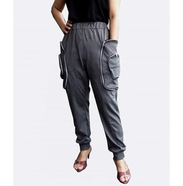 Dusty Gray Apocalyptic Harem Trouser,Cargo Pocket Style Pants P038