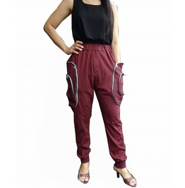 Red Maroon Apocalyptic Harem Trouser,Cargo Pocket Style Pants P038