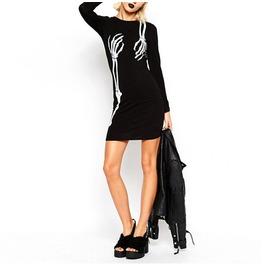 Skeleton Print Long Sleeve Black Dress Womens