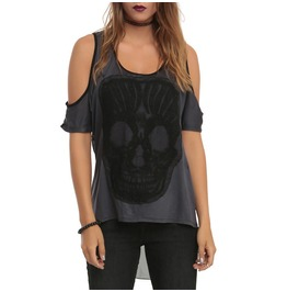 Grey Skull Off Shoulder Dovetail Womens Top