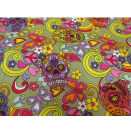 Sugar Skull (Green) Fabric Fabric Rose & Hubble