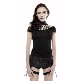 Women Black Gothic Strappy Spike Collar Shirt