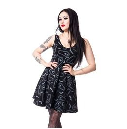 ef3fc74650a0 Crypt Gothic Witch Mini Corset Dress Nu Goth Wth Print Of Coffins And Bats
