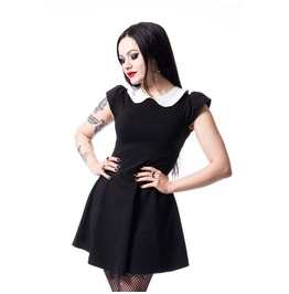 Wednesday Addam Gothic Nu Goth Peter Pan Collar Little Black Dress