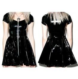 Women Gothic Sumthin Sexy Classic Vinyl Pvc Dress