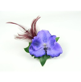 Headpiece Hair Clip Purple Blue Orchid Silk Flower With Burgundy Feathers