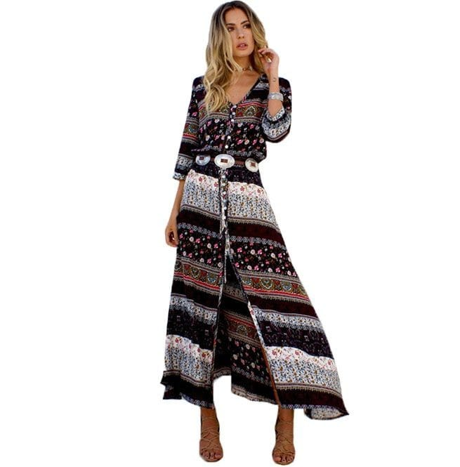 Boho Floral Print Button Split Maxi Dress