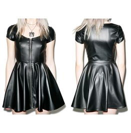 Women Gothic Sumthin Sexy Classic Pu Leather Dress