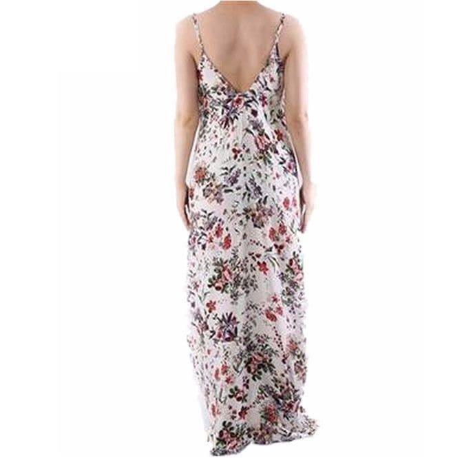 1351cbf0354 Floral Print V Neck Sexy Straps Vintage Boho Low Back Summer Maxi Dress
