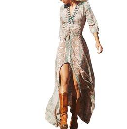 V Neck Floral Print Chiffon Vintage Boho Maxi Dresses