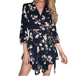 Sexy Boho Floral Print Women Chic V Neck Short Dress