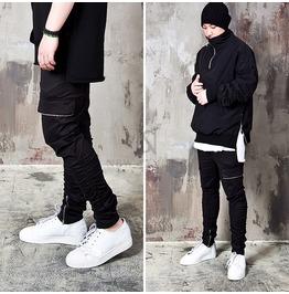 Zippered Cargo Pocket Shirring Black Sweatpants 261