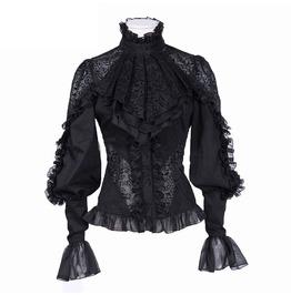 Gothic Chiffon Lace Shirt Top Black