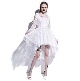 Dark Forest Lace Asymmetrical Long White Button Dress Goth