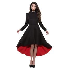 Long Sleeve Maxi Asymmetric Dress Red Black