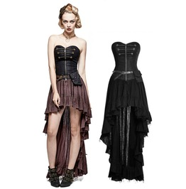 Brown Or Black Vintage Long Steampunk Ruffle Belt Corset Dress