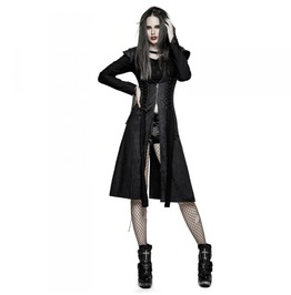 Ladies Black Corset Lacing 3/4 Goth Jacket Womens Vampire Coat $6 To Ship