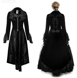 Ladies Black Queen Velvet Long Tail Coat Womens Vampire Jacket Free To Ship