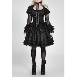 Ladies Black Layered Lace Gothic Lolita Skirt With Elastic Waist $6 To Ship