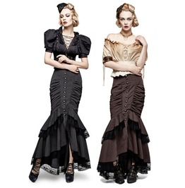 Ladies Black Or Brown Pinstriped Long Victorian Steampunk Skirt $6 To Ship