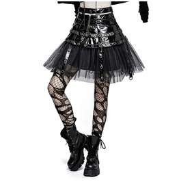 Ladies Black Pvc Dieselpunk Fetish Gothic Buckle Strap Visual Kei Skirt