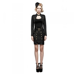 Ladies Black Gothic Military Officer Belted Mini Skirt Free Shipping