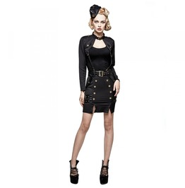 Ladies Black Gothic Military Officer Strapped Bolero Jacket Free Shipping