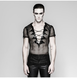 Mens Black Mesh Fishnet Pvc Fetish Lace Up Short Sleeved Top $6 Shipping