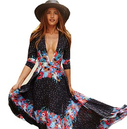 Retro Style Maxi Boho Evening Beach Party Dress Plus Size
