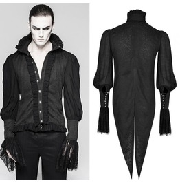 Mens Black Victorian Vampire Long Frilly Sleeved Tail Shirt $6 Shipping