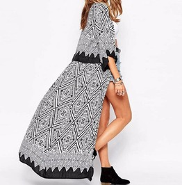 Sleeve Print Kimono Cover Up Beach Outerwear For Women