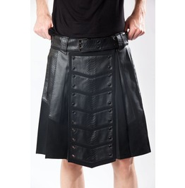 Men Gothic Kilt Black Vegan Leather Military Combat Utility Kilt